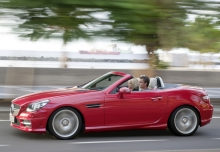 MERCEDES-BENZ SLK 200, Front + links, Convertible, Rot
