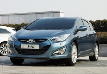 HYUNDAI i40, Front + links, Stationwagon, Blau